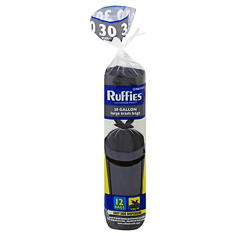 Ruffies 30gal Wing Tie Large Trash Bag - 12 Count