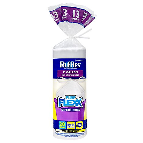 Ruffies Pure Flex 13gal Drawstring Tall Kitchen Bag - 20 Count