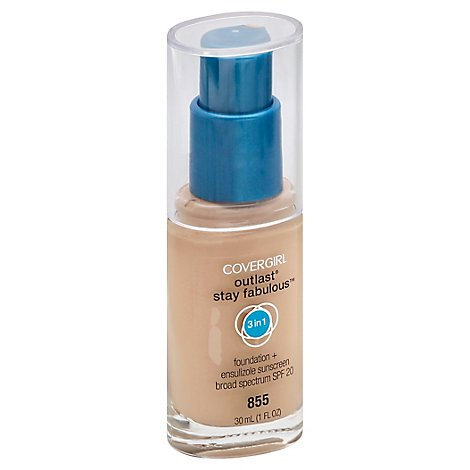 COVERGIRL Outlast Stay Fabulous Foundation + Sunscreen 3In1 SPF 20 Soft Honey 855 - 1 Fl. Oz.