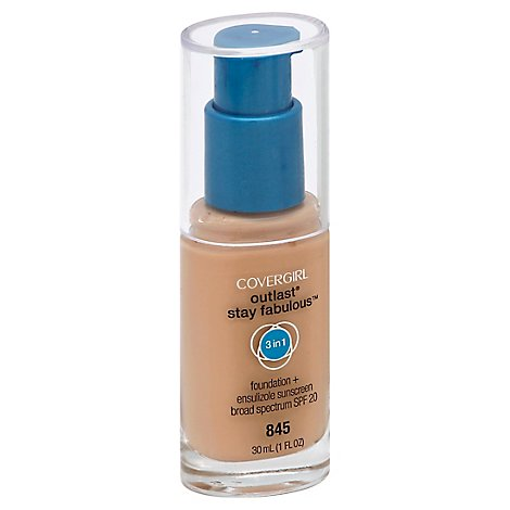 COVERGIRL Outlast Stay Fabulous Foundation + Sunscreen 3 in 1 SPF 20 Warm Beige 845 - 1 Fl. Oz.