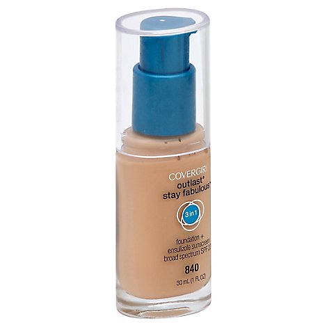 COVERGIRL Outlast Stay Fabulous Foundation + Sunscreen 3In1 SPF 20 Natural Beige 840 - 1 Fl. Oz.