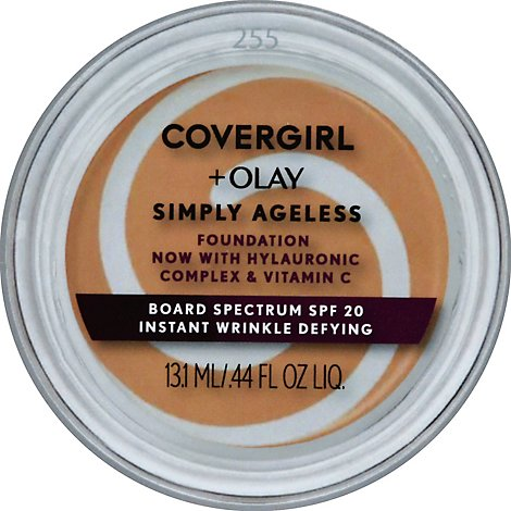 COVERGIRL + Olay Simply Ageless Foundation + Sunscreen SPF 22 Soft Honey 255 - 0.4 Oz