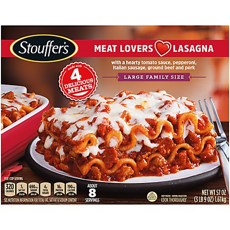 Stouffers Family Size Lasagna Meat Lovers Large - 57 Oz