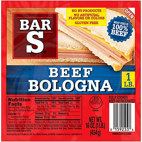Bar-S Bologna Beef - 16 Oz