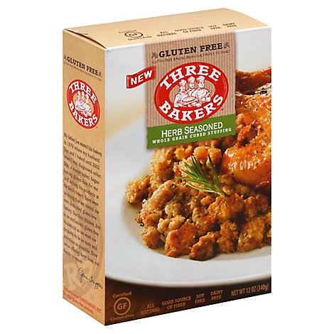 Three Bakers Stuffing Whole Grain Cubed Herb Seasoned Pouch - 12 Oz