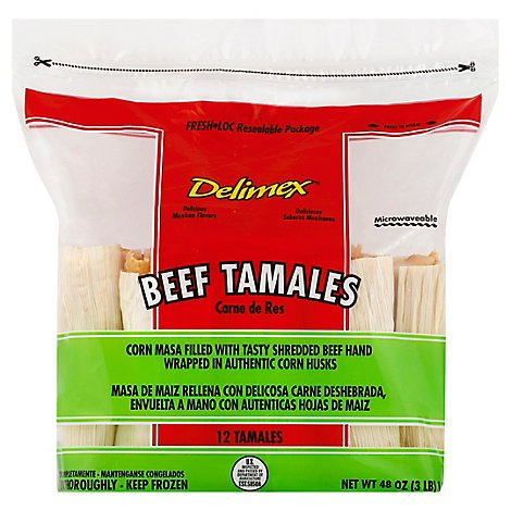 Delimex Tamales Beef 12 Count - 3 Lb