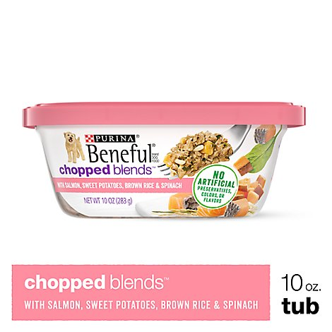 Beneful Chopped Blends Dog Food With Salmon Sweet Potatoes Brown Rice & Spinach Can - 10 Oz