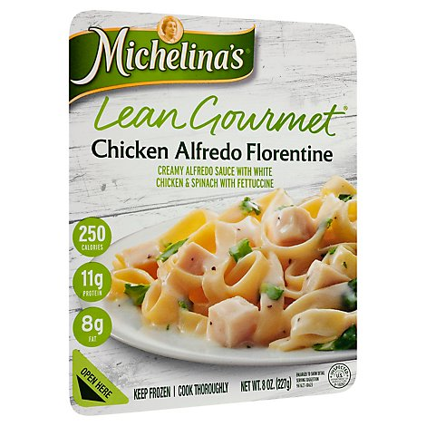 Michelinas Lean Gourmet Frozen Meal Chicken Alfredo Florentine - 8 Oz