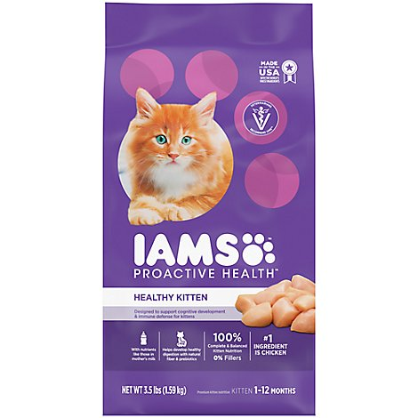 IAMS Proactive Health Cat Food Healthy Kitten Dry With Chicken - 3.5 Lb