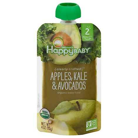 Happy Baby Organics Organic Baby Food Apple Kale & Avocados - 4 Oz