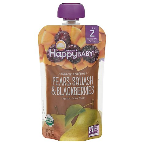 Happy Baby Organics Pears Squash & Blackberries - 4 Oz