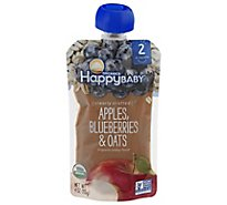 Happy Baby Organics Organic Baby Food Apple Blueberries & Oats - 4 Oz