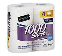 Signature Care/Home Bathroom Tissue 1000 Sheets Roll 1-Ply Wrapper - 4 Count
