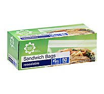 Signature Home Sandwich Bags Resealable - 50 Count