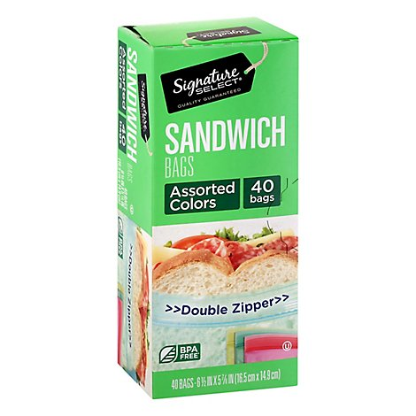 Signature SELECT Sandwich Bags Resealable Assorted Color - 40 Count