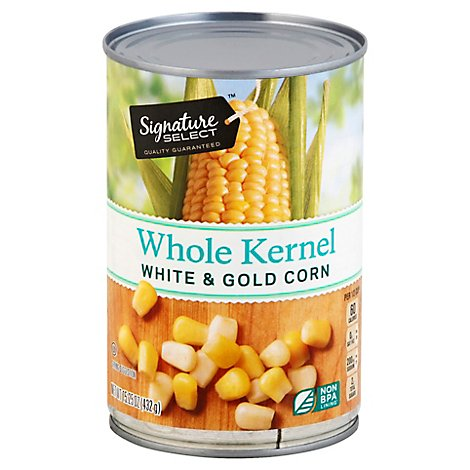 Signature SELECT Corn Whole Kernel Super Sweet White & Gold Can - 15.25 Oz