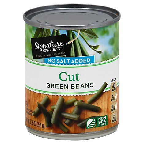 Signature SELECT Beans Green No Salt Added - 8 Oz