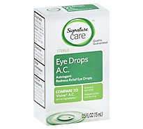 Signature Care Eye Drops Redness Relief AC Sterile Astringent - 0.5 Fl. Oz.
