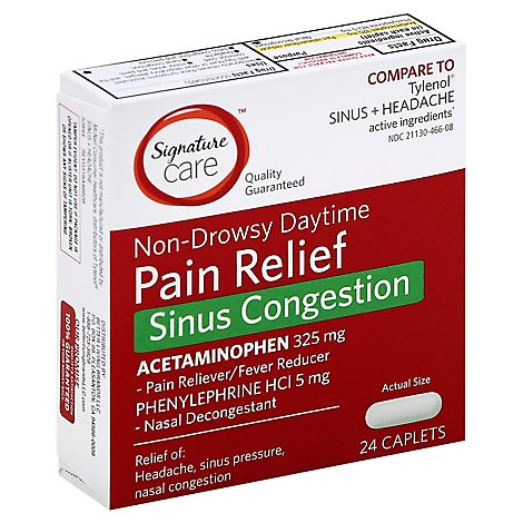 Signature Care Pain Relief Sinus Congestion Acetaminophen 325mg Non Drowsy Caplet - 24 Count