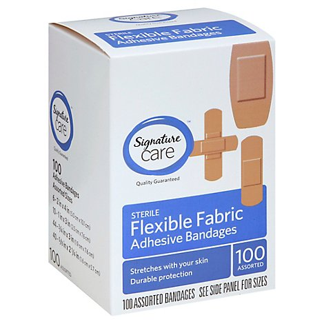 Signature Care Adhesive Bandages Flexible Fabric Sterile Assorted - 100 Count