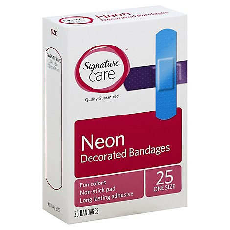 Signature Care Decorated Bandages Neon One Size - 25 Count