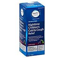 Signature Care Cold & Cough Relief Childrens Nighttime Cough Suppresant Grape - 4 Fl. Oz.