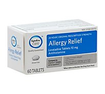 Signature Care Allergy Relief 10mg Antihistamine Original Strength Loratadine Tablet - 60 Count