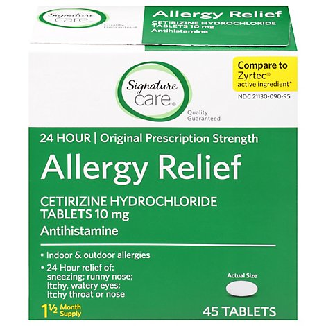 Signature Care Allergy Relief Cetirizine Hydrochloride 10mg Antihistamine Tablet - 45 Count