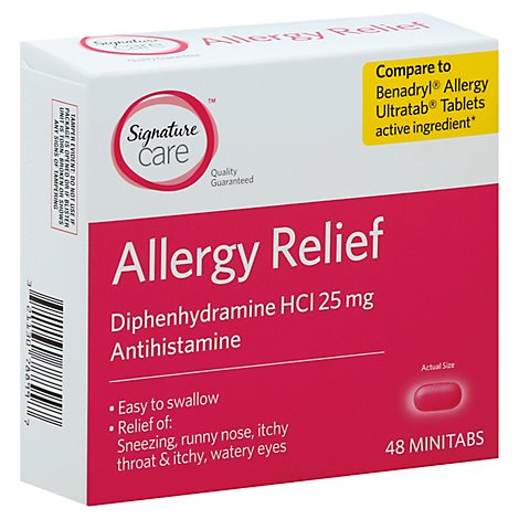Signature Care Allergy Relief Diphenhydramine HCI 25mg Antihistamine Minitab - 48 Count