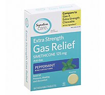 Signature Care Gas Relief Simethicone 125mg Extra Strength Peppermint Tablet - 18 Count
