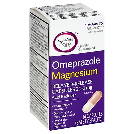 Signature Care Omeprazole Acid Reducer Delayed Release 20.6mg Magnesium Capsule - 14 Count
