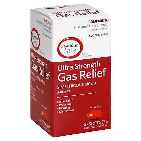 Signature Care Gas Relief Simethicone 180mg Ultra Strength Softgel - 60 Count