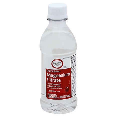 Signature Care Magnesium Citrate Oral Solution Saline Laxative Cherry Flavor - 10 Fl. Oz.