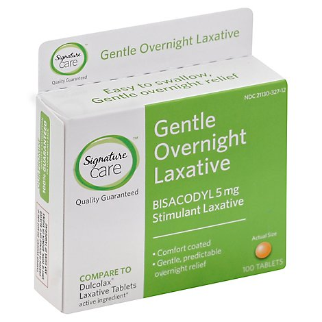 Signature Care Gentle Overnight Laxative Bisacodyl 5mg Tablet - 100 Count