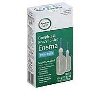 Signature Care Enema Complete & Ready To Use Saline Laxative Twin Pack - 2-4.5 Oz
