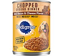 PEDIGREE Dog Food Ground Dinner Chunky With Beef Bacon & Cheese Can - 13.2 Oz
