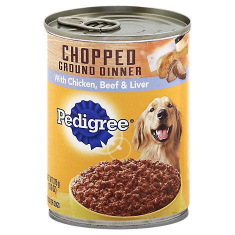 PEDIGREE Dog Food Ground Dinner Chopped With Chicken Beef & Liver Can - 13.2 Oz