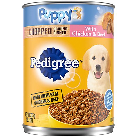 Pedigree Dog Food Wet For Puppy Chopped Ground Dinner With Chicken & Beef - 13.2 Oz