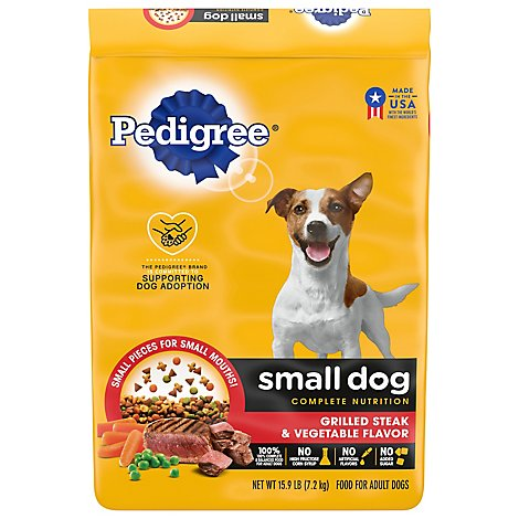 PEDIGREE Dog Food Dry For Small Dog Nutrition Steak & Vegetable Flavor Bag - 15 Lb