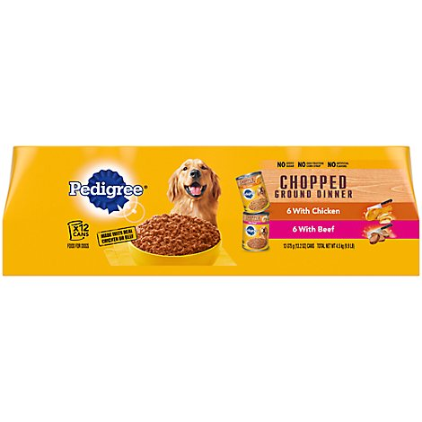 PEDIGREE Dog Food Ground Dinner Chopped With Chicken & Beef Wrapped - 12-13.2 Oz