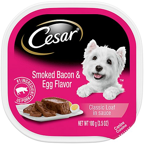 Cesar Sunrise Canine Cuisine In Meaty Juices with Smoked Bacon & Egg Tub - 3.5 Oz