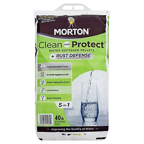 Morton Water Softening Pellets Plus Rust Defense Clean and Protect - 40 Lb