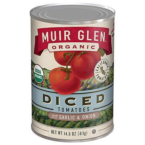 Muir Glen Tomatoes Organic Diced With Garlic & Onion - 14.5 Oz
