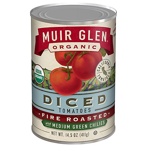 Muir Glen Tomatoes Organic Diced Fire Rosted With Medium Green Chilies - 14.5 Oz