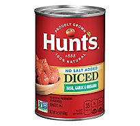 Hunts Tomatoes Diced No Salt Added Basil Garlic & Oregano - 14.5 Oz