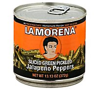 La Morena Peppers Jalapeno Pickled Sliced Green Can - 13.13 Oz