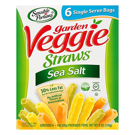 Sensible Portions Garden Veggie Straws DreamWorks Trolls Sea Salt Single Serve Bags - 6-1 Oz