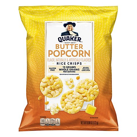 Quaker Popped Rice Crisps Gluten Free Butter Popcorn - 6.06 Oz