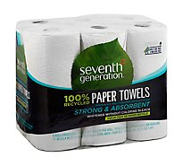 Seventh Generation Paper Towel 2-Ply 100% Recycled Paper White Without Chlorine Bleach - 6 Roll