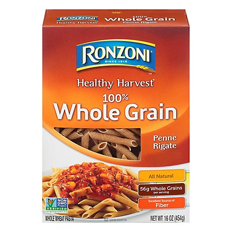 Ronzoni Pasta Healthy Harvest Penne Rigate Whole Grain Box - 16 Oz